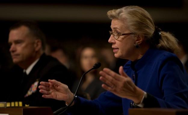 Acting Deputy Secretary of Defense Christine Fox before the Senate on Jan. 28, 2014. DoD Photo