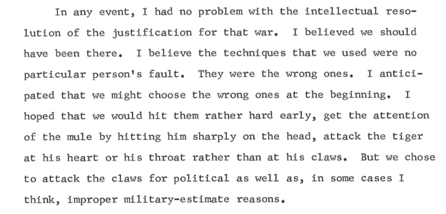 An excerpt from Jeremiah Denton's 1976 U.S. Naval Institute oral history on his view of the execution of the Vietnam War.