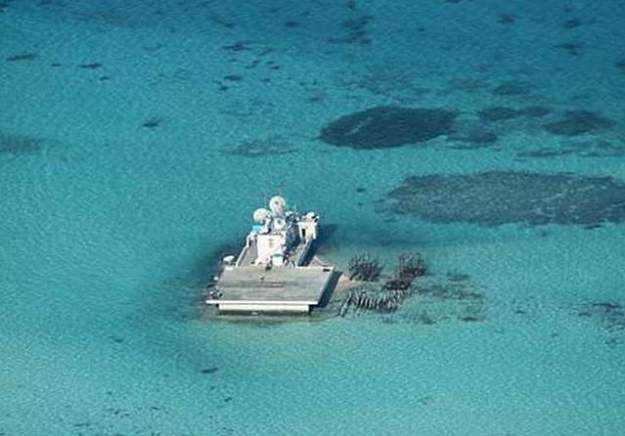 A Chinese installation at Johnson South Reef. Philippines Government Photo