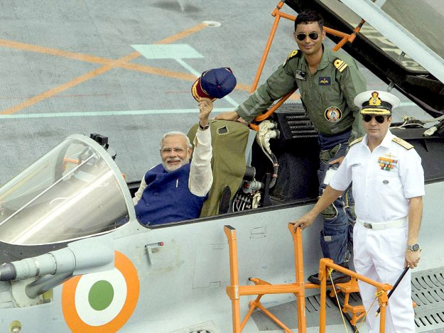 Prime Minister Narendra Modi in a MiG-29K on a June 14 visit to INS Vikramaditya. NDTV Photo