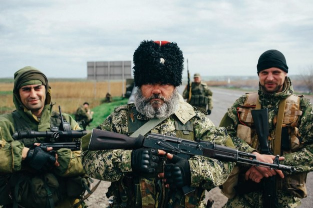 Pro-Russian separatists at a check point in Kharkiv in Eastern Ukraine.