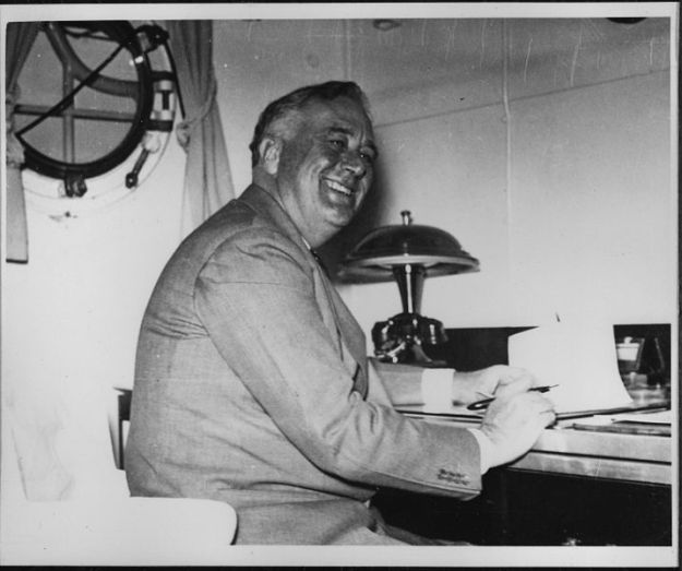 Franklin D. Roosevelt in the admiral's cabin onboard USS Houston in 1939. National Archives and Records Administration Photo