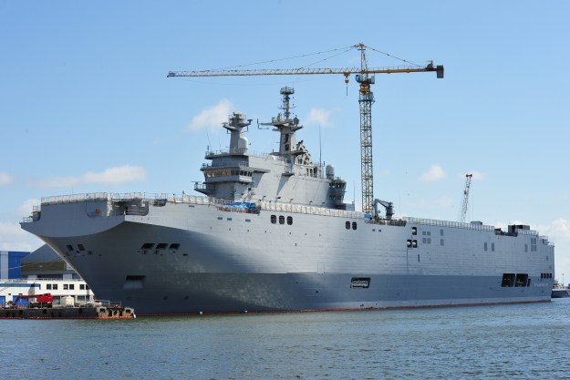 Russian Mistral Vladivostok under construction on April 22, 2014. U.S. Naval Institute Combat Fleets of the World Photo