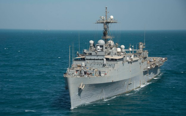 USS Ponce (AFSB(I) 15) transits the Arabian Gulf on Sept. 25, 2014. US Navy Photo