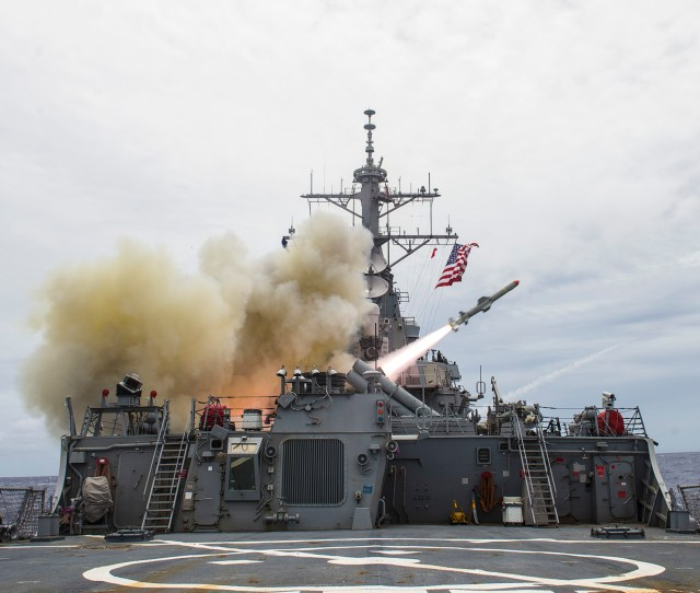 Uss Stethem Ddg 63 Fires A Harpoon Missile During A Sinking Exercise As