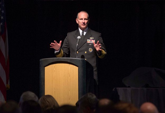 Chief of Naval Operations (CNO) Adm. Jonathan Greenert speaks at the Annual Hampton Roads Navy League Dinner on Jan. 28, 2015.