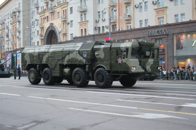 Iskander mobile ballistic missile systems (NATO Reporting name: SS-26 Stone) during a practice parade in Moscow in 2010. via Wikipedia