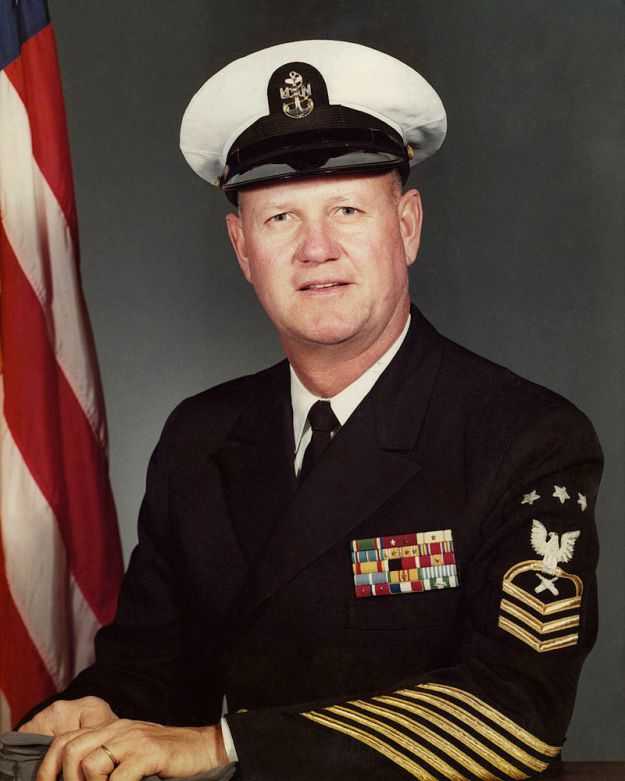 The U.S. Navy's first Master Chief Petty Officer of the Navy (MCPON) Delbert Black.