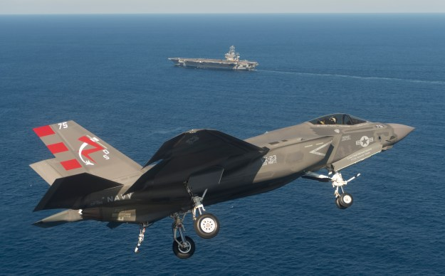 An F-35C Lightning II Joint Strike Fighter on Nov. 3, 2014. The Navy included eight of the aircraft and 12 Boeing F/A-18E/F Super Hornets in its FY 2016 Unfunded Priorities List to Congress. US Navy Photo