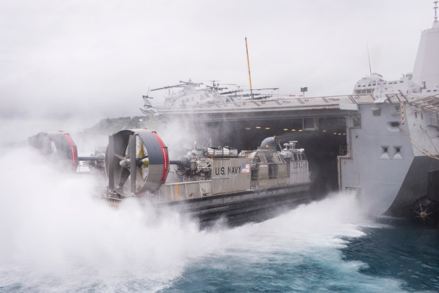 A Landing Craft Air Cushion (LCAC) enters the well deck of the amphibious transport dock ship USS Green Bay (LPD 20) on June 6, 2015. Commandant Gen. Joseph Dunford said the Marines can no longer rely on traditional amphibious operations in the Pacific and will instead have to consider alternate operations models and new platforms. US Navy photo.