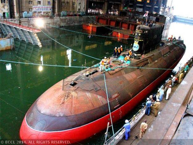 Attack submarine INS Sindhukirti is undocked at Vizag yard after refit work took more than nine years. Photo courtesy The Economic Times.