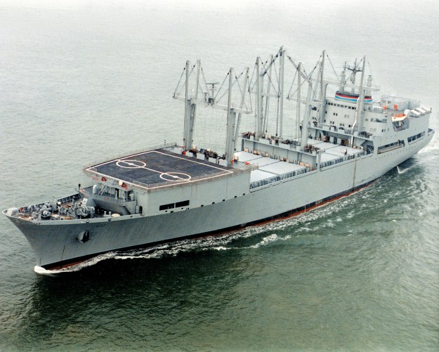 SS Wright (T-AVB-3), one of two aviation logistics support ships. Photo courtesy Wikipedia.