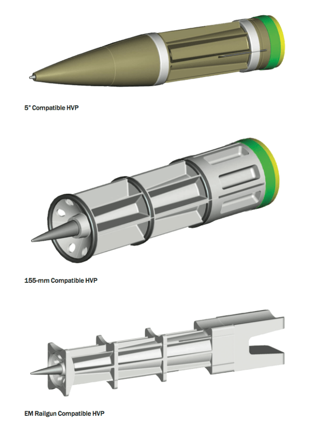 A range of hyper velocity projectiles from different weapon systems. BAE Systems Image