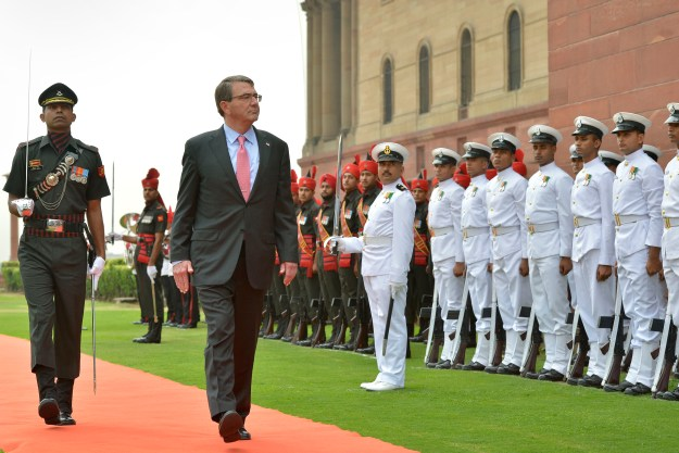 Secretary of Defense Ash Carter is welcomed with an honor cordon to India's Ministry of Defense in New Delhi, india on June 3, 2015. DoD Photo