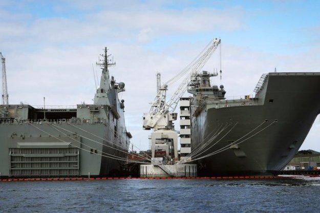 Australia's two Canberra-class amphibious warships. RAN Photo