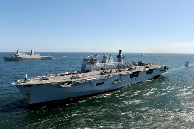 UK Royal Navy amphibious assault ship HMS Ocean (L 12) during the BALTOPS 2015 exercise operation with USS San Antonio (LPD-17). Royal Navy Photo