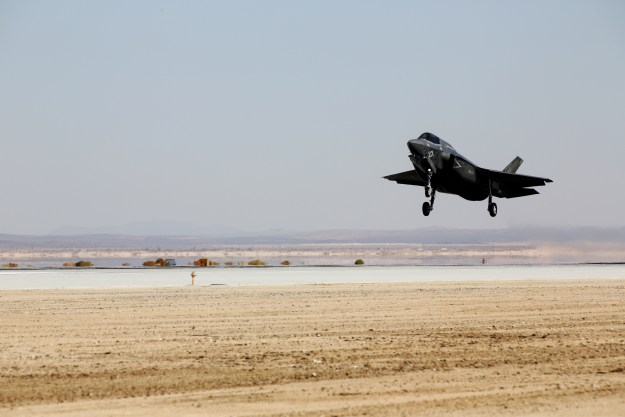 An F-35B Lightning II with Marine Operational and Test Evaluation Squadron (VMX) 22 prepares to touch down aboard Edwards Air Force Base, Calif., Oct. 9. US Marine Corps photo.