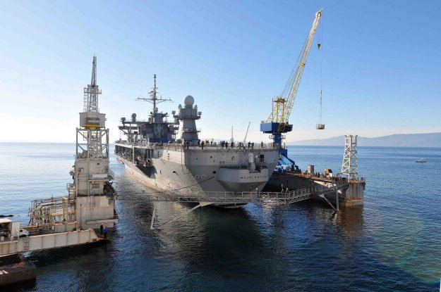 USS Mount Whitney (LCC20) is tugged in to the staging area to begin the dry dock process in the Viktor Lenac Shipyard in Rijeka, Croatia on Jan. 19, 2015. US Navy