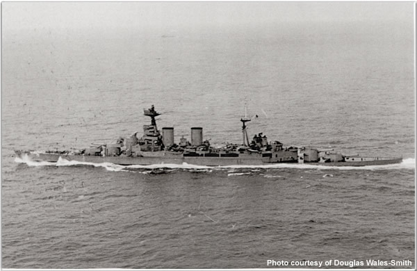 HMS Hood in May 1941, just before it was sunk by German battleship Bismarck. Photo courtesy HMS Hood Association.
