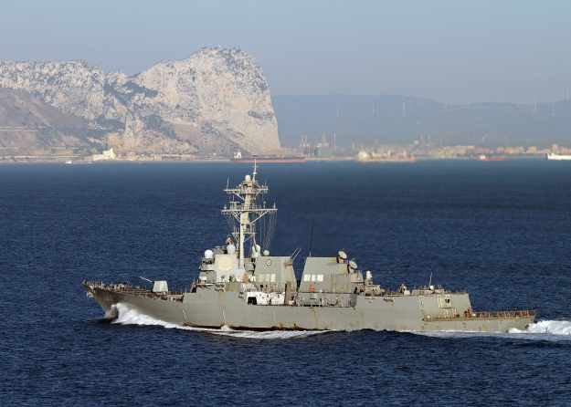 Guided-missile destroyer USS Truxtun (DDG-103) transits the Strait of Gibraltar in 2014. US Navy Photo