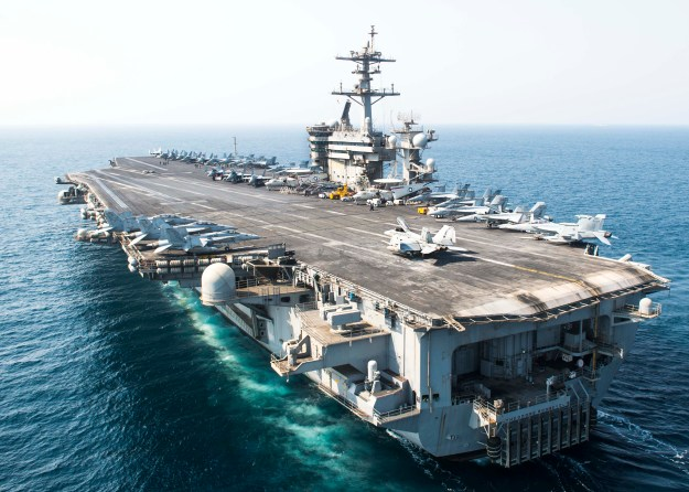USS Theodore Roosevelt (CVN-71) transits the Arabian Gulf on Oct. 2, 2015. US Navy Photo