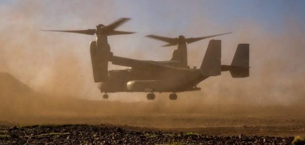 An MV-22B Osprey with Marine Operational Test and Evaluation Squadron (VMX) 22 prepares to land during reduced visibility landing aboard Kirtland Air Force Base, Albuquerque, N.M., April 2, 2015. US Marine Corps photo.
