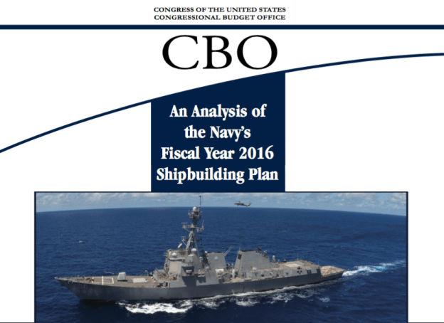 Document: Congressional Budget Office Report on Navy's 2016 Shipbuilding Plan