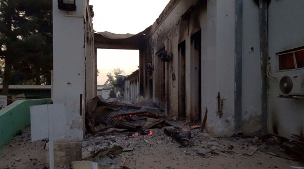 In this photograph released by Medecins Sans Frontieres (MSF) on October 3, 2015, fires burn in part of the MSF hospital in the Afghan city of Kunduz after it was hit by an air strike. MSF Photo