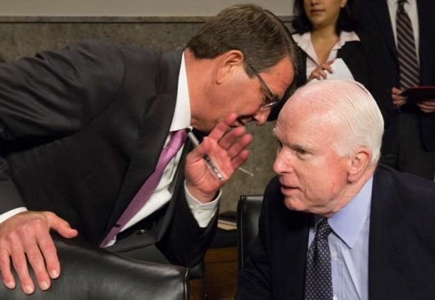 Secretary of Defense Ash Carter and Sen. John McCain (R-Ariz.)