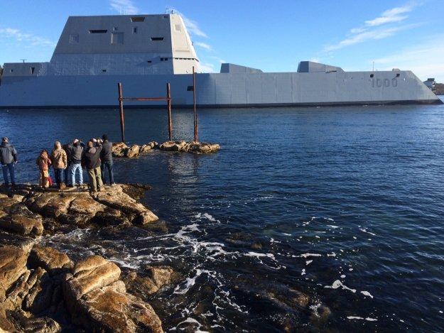 Destroyer Zumwalt (DDG-1000) is underway on Dec. 7, 2015. US Navy Photo