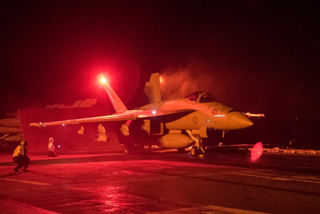 """An F/A-18E Super Hornet assigned to the """"Fist of the Fleet"""" of Strike Fighter Squadron (VFA) 25 prepares to launch from the flight deck of the aircraft carrier USS Harry S. Truman (CVN-75). US Navy Photo"""