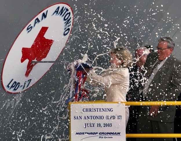 Texas Senator Kay Bailey Hutchison, sponsor of LPD-17 the San Antonio, christens the Navy's the in New Orleans in 2003. US Navy Photo