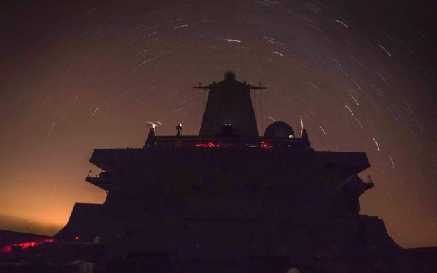 USS New Orleans (LPD-18) transits the Pacific Ocean at night. US Navy Photo