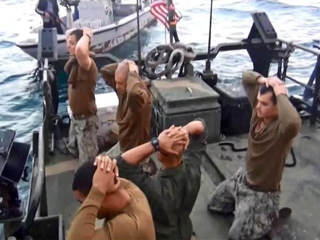 Riverine sailors detained by IRGCN forces on Jan. 12, 2016 off Farsi Island in the Persian Gulf.