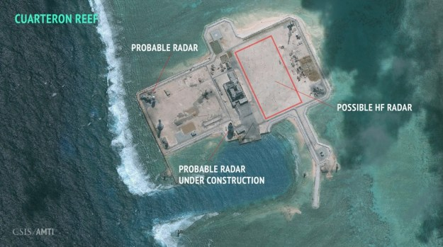 A Jan. 24, 2016 image of Cuarteron Reef in the South China Sea with what is likely a high frequency radar array. CSIS Asian Maritime Transparency Initiative, DigitalGlobe Image used with permission.