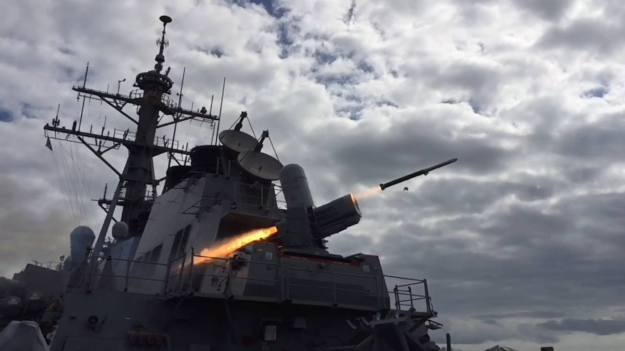 USS Porter (DDG 78) conducts a structural test firing of SeaRAM in Spain on Feb. 28, 2016, as the first Arleigh Burke-class guided-missile destroyer with a SeaRAM installation. US Navy photo.