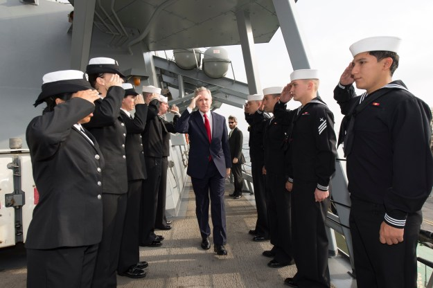Sailors aboard USS Ross (DDG 71) pipe aboard the honorable Ray Mabus, Secretary of the Navy, during his visit to the Ross while in port in Istanbul, Turkey. US Navy Photo