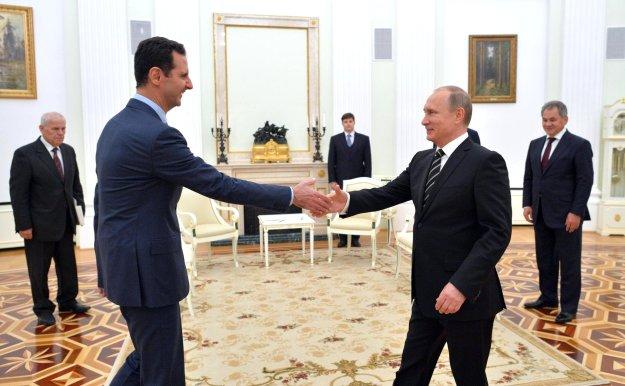 Syrian President Bashar al Assad and Russian President Vladimir Putin in Russia on Oct. 21, 2015. Kremlin Photo