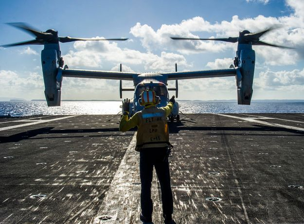 A Marine MV-22 on USS George Washington (CVN-73) in support of Operation Damayan on Nov. 18, 2013. US Navy Photo