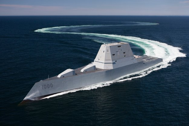 USS Zumwalt (DDG-1000) transits the Atlantic Ocean during acceptance trials April 21, 2016. US Navy Photo