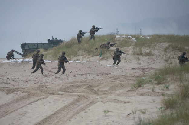 U.S. Marines from India Company, 3rd Battalion, 8th Marine Regiment participate in an amphibious landing exercise in Ustka, Poland, during BALTOPS 2016. US Navy photo.