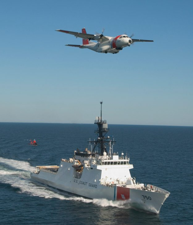 The U. S. Coast Guard's first national security cutter took to the sea on Friday, operating in concert with the service's new maritime patrol aircraft, the Ocean Sentry HC-144A, and a newly re-engined MH-65C helicopter. US Coast Guard photo.