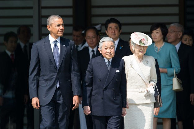 U.S. President Barack Obama participates in the welcome ceremony with their Majesties the Emperor and Empress of Japan and Japan's Prime Minister Shinzo Abe at the Imperial Palace during his state visit to Japan in 2014. U.S. State Department Photo