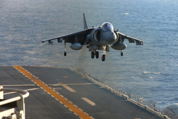 An AV-8B Harrier with Marine Medium Tiltrotor Squadron 262 (Reinforced), 31st Marine Expeditionary Unit, prepares to land aboard the USS Bonhomme Richard (LHD-6), at sea, Aug. 27, 2016. US Marine Corps photo.