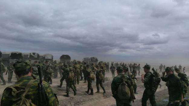 Russian troops participating in the Kavkaz-2016 exercise.