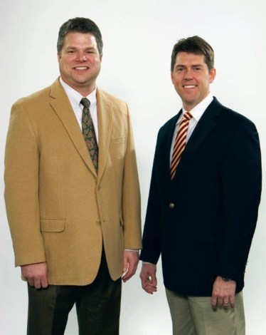 Rick Sain (PharmD, '89), left, and Shane Reeves (PharmD, '94) are co-owners of Reeves-Sain Family of Medical Services. The company's foundation is donating a $100,000 gift to the UT Health Science Center's College of Pharmacy.
