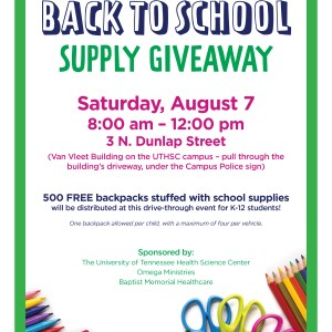 Back to School supply giveaway August 7, 2021 from 8 am to noon at 3 N. Dunlap