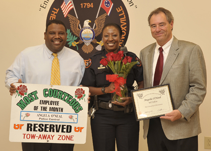 August 2008 Send Roses Winner Angela O'Neal with Police Chief August Washington and Interim Chancellor Jan Simek