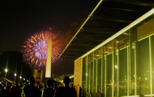 UT's Living Light during a fireworks show in Washington DC