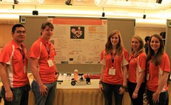 Members of UT's 2013 Chem-E-Car Team show off their competition entry, the Tennessee Titan. From left are Dennis Edralin, Aston Thompson, Amanda Jones, Kelli Byrne, and Alex David.